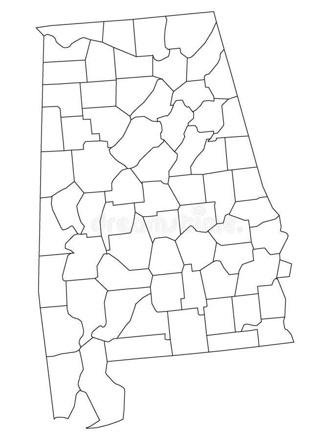 Counties Map of US State of Alabama. Vector illustration of the Counties Map of US State of Alabama vector illustration