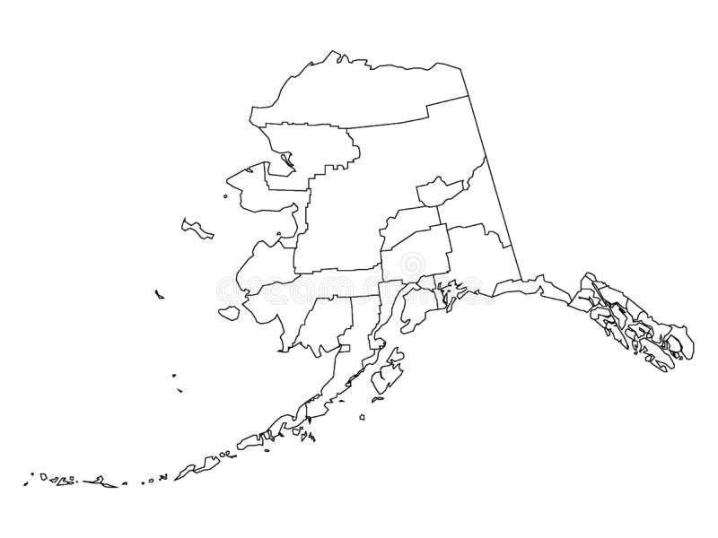 Counties Map of US State of Alaska. Vector illustration of the Counties Map of US State of Alaska vector illustration