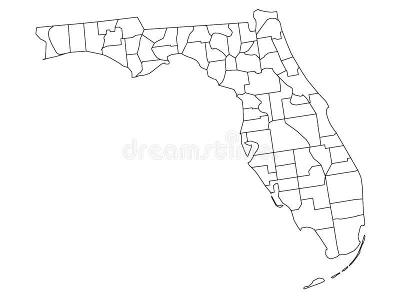 Counties Map of US State of Florida. Vector illustration of the Counties Map of US State of Florida royalty free illustration
