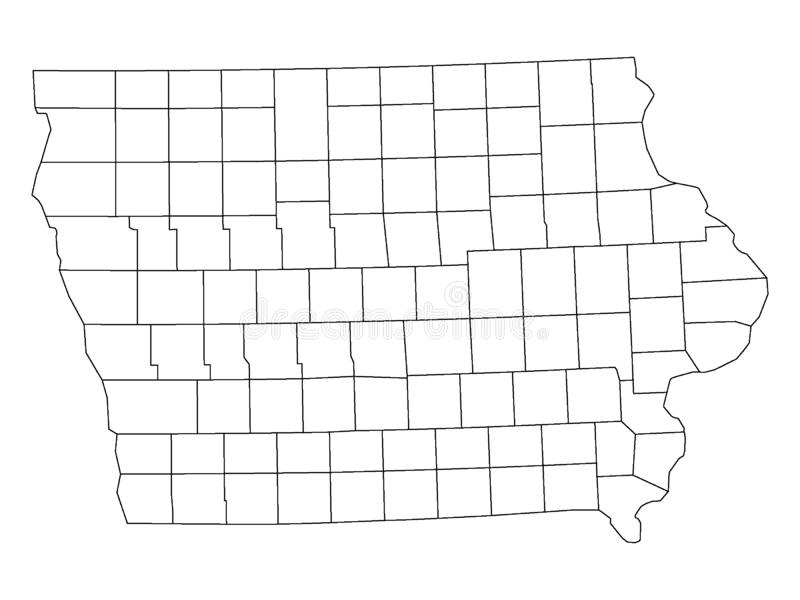 Counties Map of US State of Iowa. Vector illustration of the Counties Map of US State of Iowa vector illustration