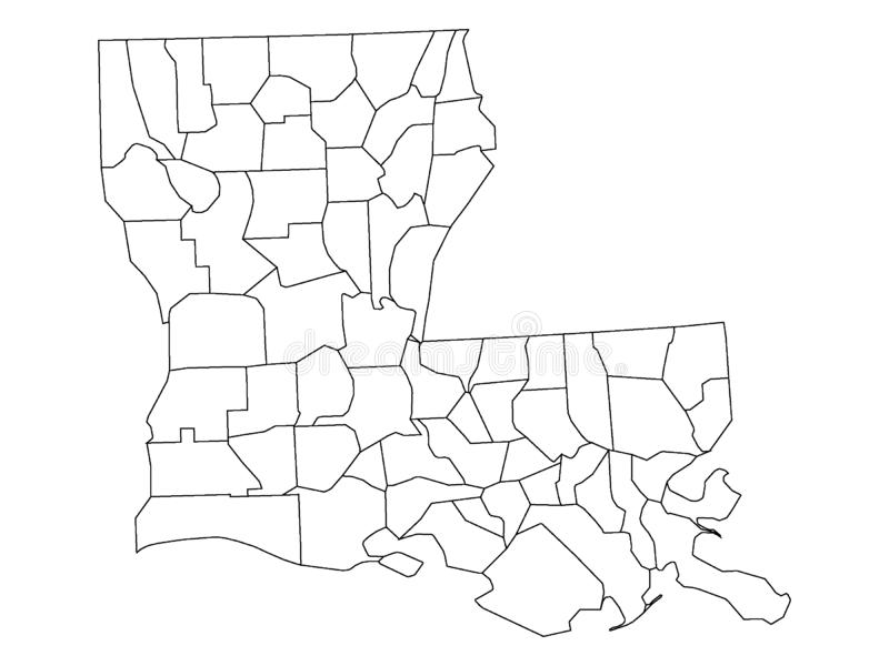 Counties Map of US State of Louisiana. Vector illustration of the Counties Map of US State of Louisiana vector illustration