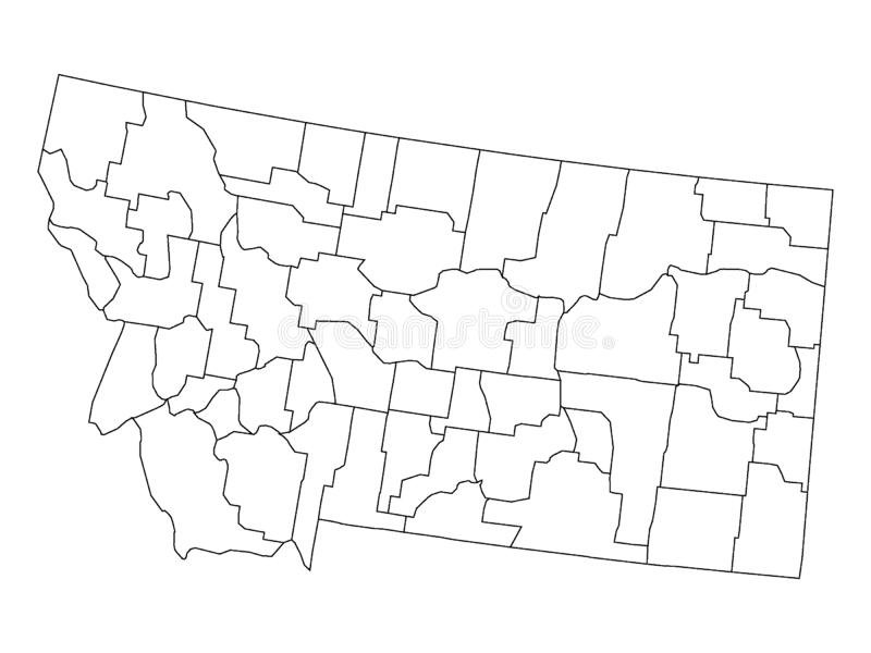Counties Map of US State of Montana. Vector illustration of the Counties Map of US State of Montana stock illustration
