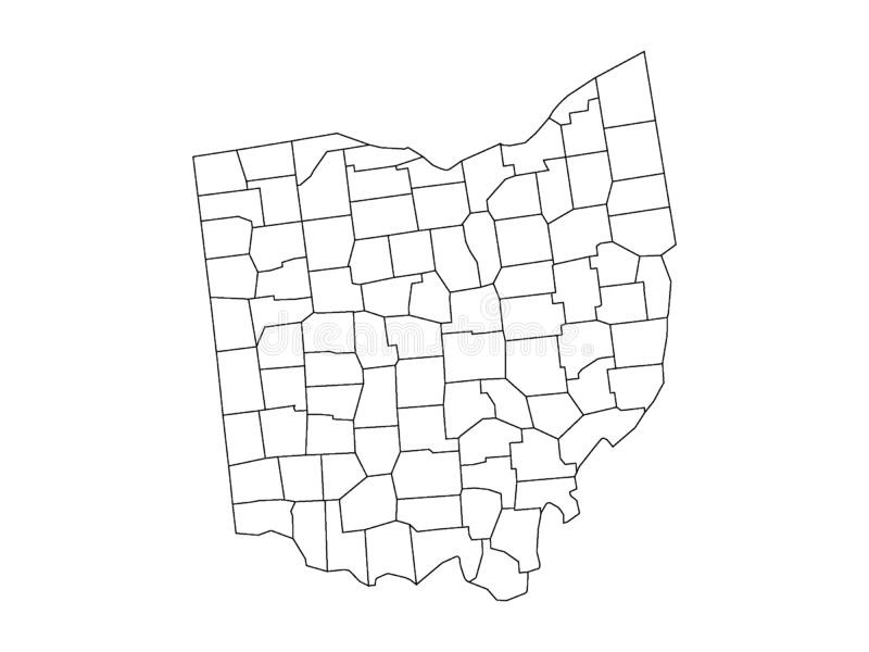 Counties Map of US State of Ohio. Vector illustration of the Counties Map of US State of Ohio vector illustration