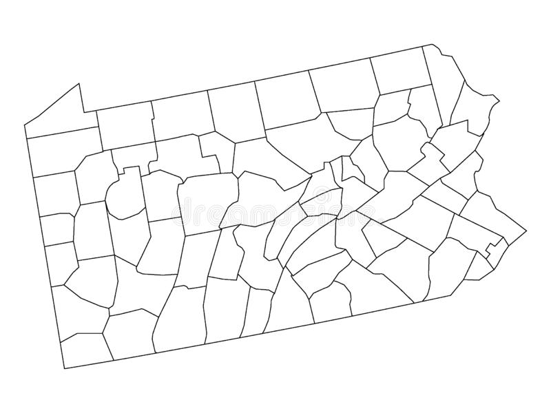 Counties Map of US State of Pennsylvania. Vector illustration of the Counties Map of US State of Pennsylvania stock illustration