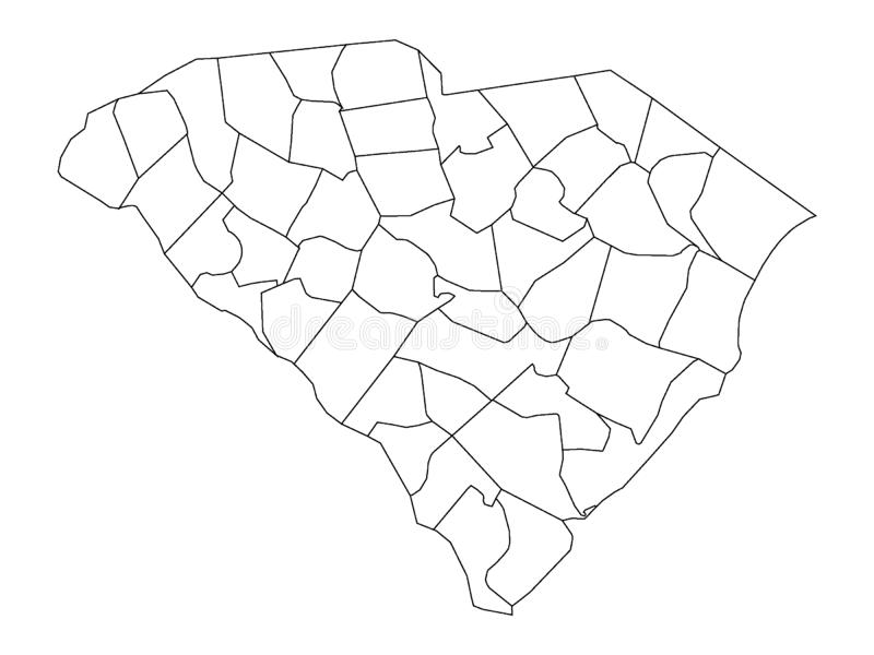 Counties Map of US State of South Carolina. Vector illustration of the Counties Map of US State of South Carolina stock illustration