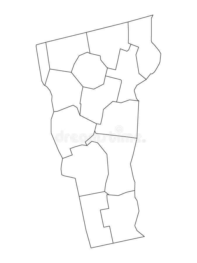 Counties Map of US State of Vermont. Vector illustration of the Counties Map of US State of Vermont stock illustration