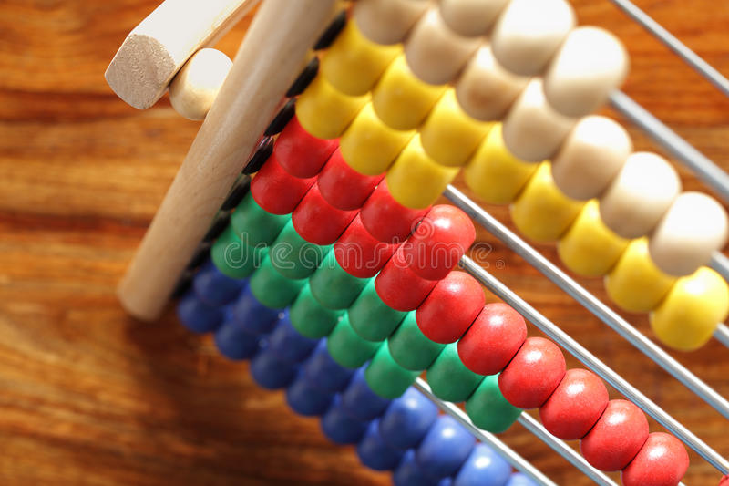 Counting on an abacus stock image