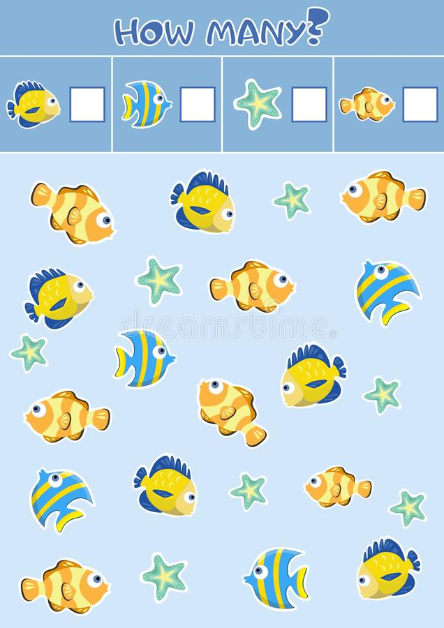 Counting children`s educational games, children`s sheet. How many objects task, marine life, sea theme. stock illustration