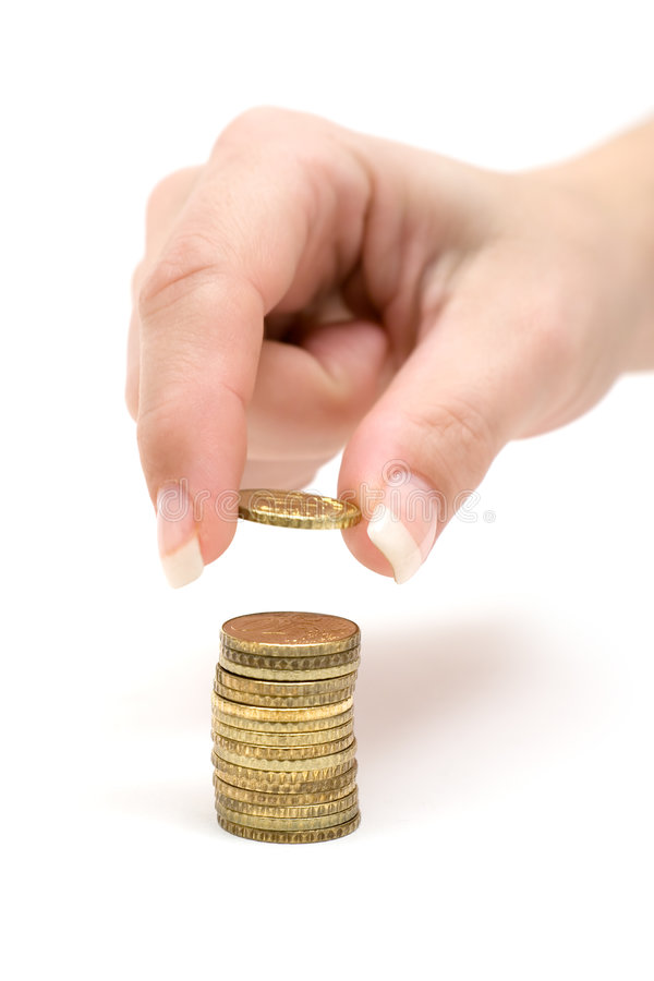 Counting Coins Royalty Free Stock Images