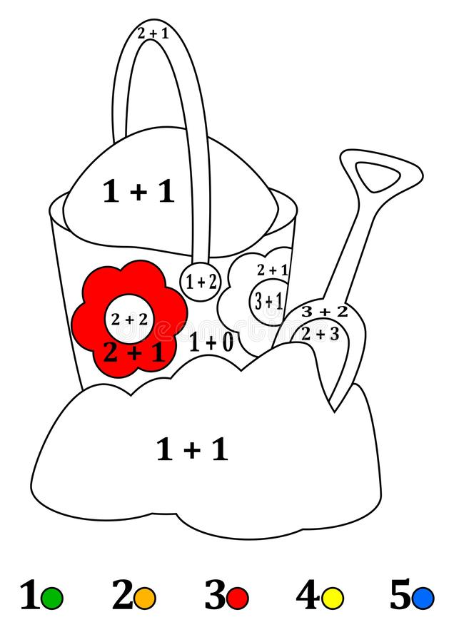 Counting with colors for children - a bucket, shovel, sand vector illustration