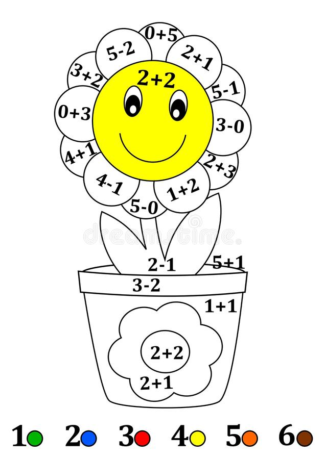 Counting with colors for children - a flower pot, flower vector illustration