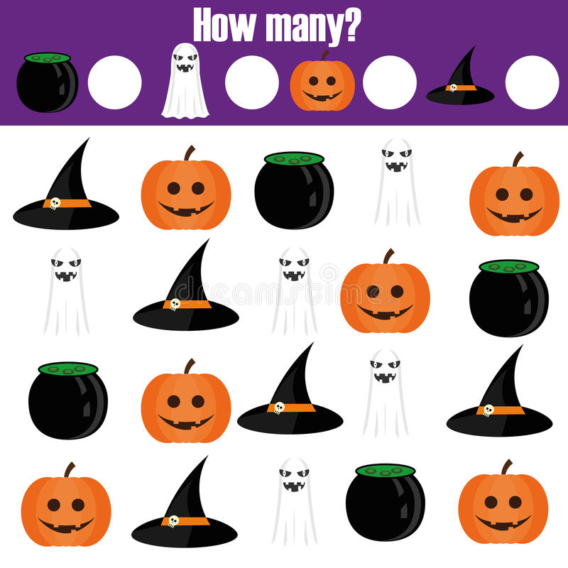 Counting educational children game, kids activity. How many objects. Halloween theme royalty free illustration