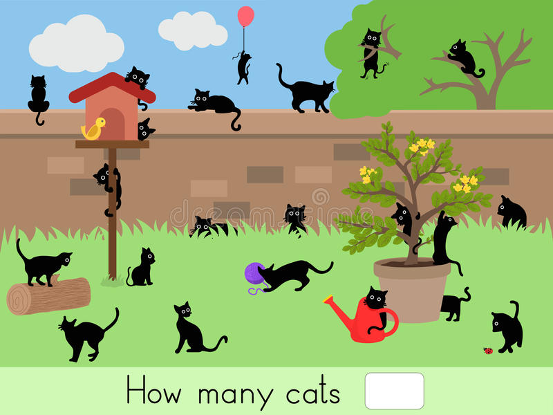 Counting educational children game, kids activity sheet. How many cats stock illustration