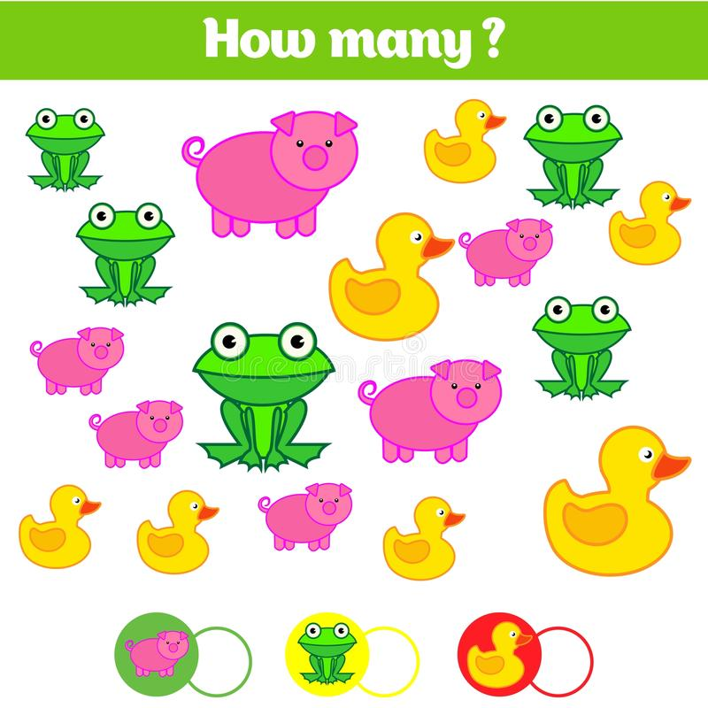 Counting educational children game, kids activity sheet. How many objects task. Learning mathematics, numbers vector illustration