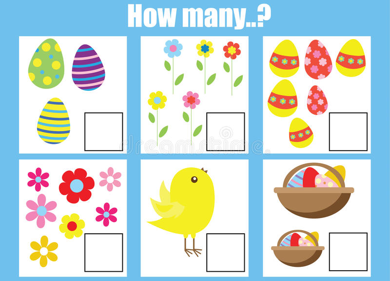 Counting Educational Children Game, Kids Activity Worksheet. How Many Objects Task Stock