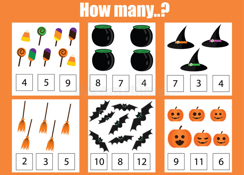 Counting Educational Children Game, Kids Activity Worksheet. How Many Objects Task, Halloween