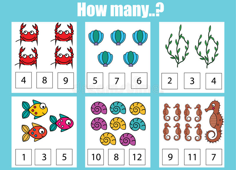 Counting Educational Children Game, Kids Activity Worksheet. How ...