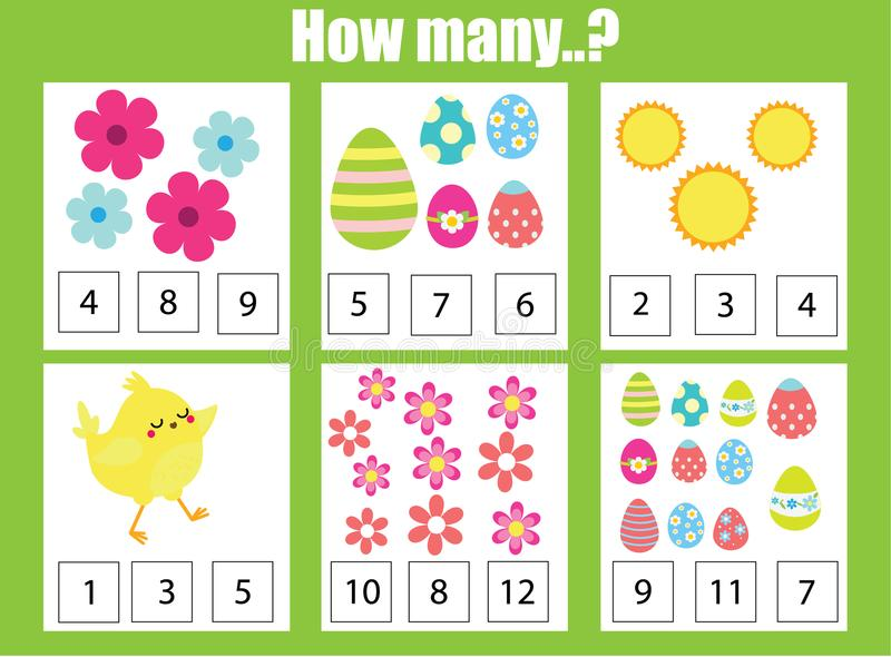 Counting Educational Children Game, Math Kids Activity. How Many Objects Task. Easter Theme