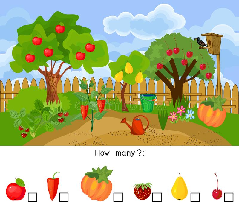 How many fruits and vegetables. Counting educational game for preschool kids. Counting educational game for preschool kids. How many fruits and vegetables vector illustration