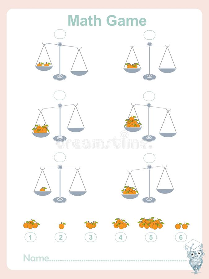 Counting educational games kids, kids activity sheet, math game. Complete the mathematical equation, choose. Learning math, numbers, stock vector illustration vector illustration