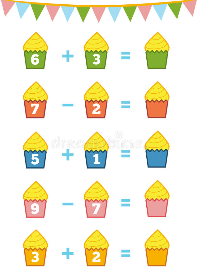 Free Counting Game. Addition And Subtraction Worksheets Stock Photos - 76819563