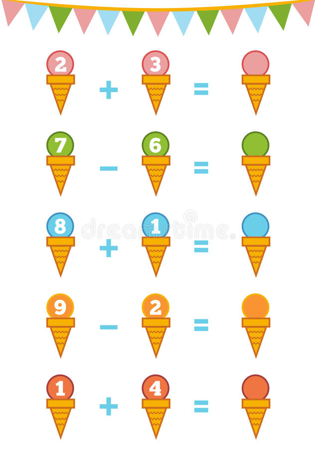 Free Counting Game. Addition And Subtraction Worksheets Stock Photo - 76819630