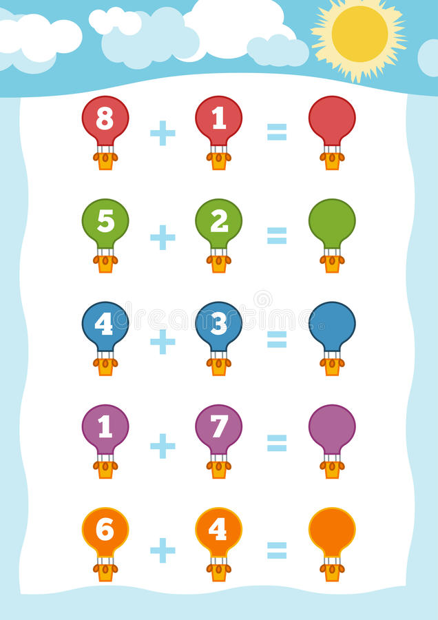 Counting Game for Children. Addition worksheets with balloons stock illustration