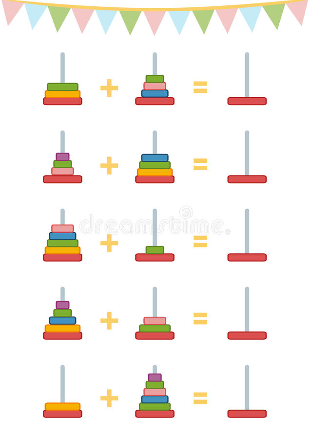 Counting Game For Children. Addition Worksheets, Toy Pyramid Stock ...