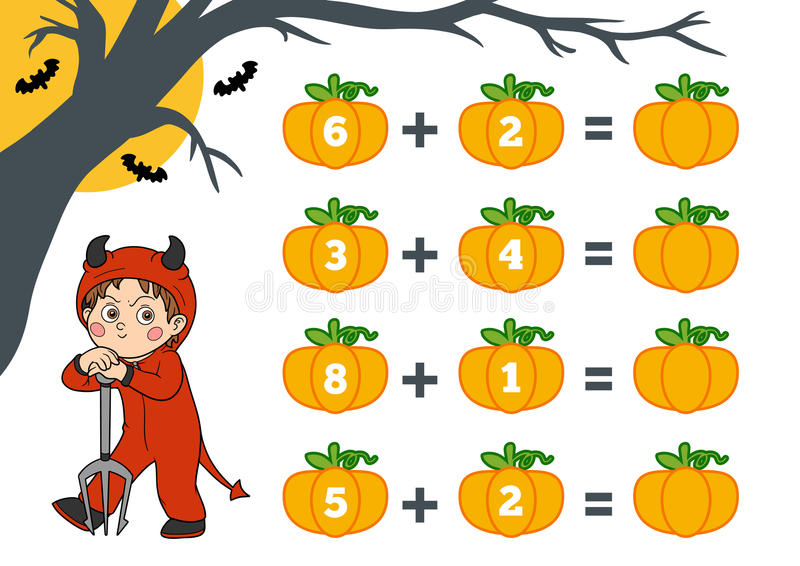 Counting Game for Children. Halloween characters, devil stock illustration