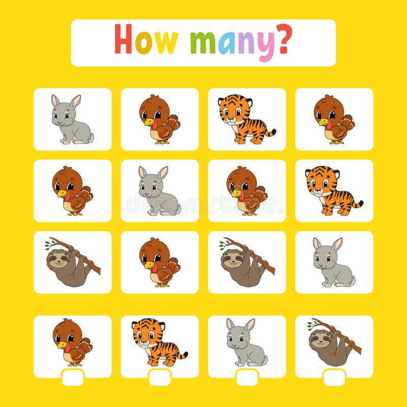Counting game for children of preschool age. Learning mathematics. How many animals in the picture. With space for answers. Simple vector illustration