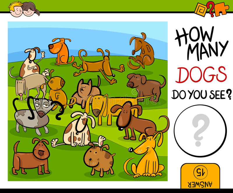 Counting game with cute dogs stock illustration