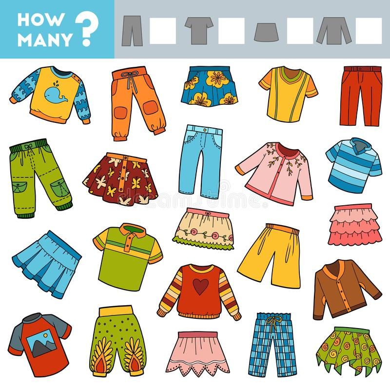Free Counting Game For Children. Educational A Mathematical Game. Count How Many Skirts, Trousers, Jumpers, T-shirts And Write The Stock Photos - 149418403