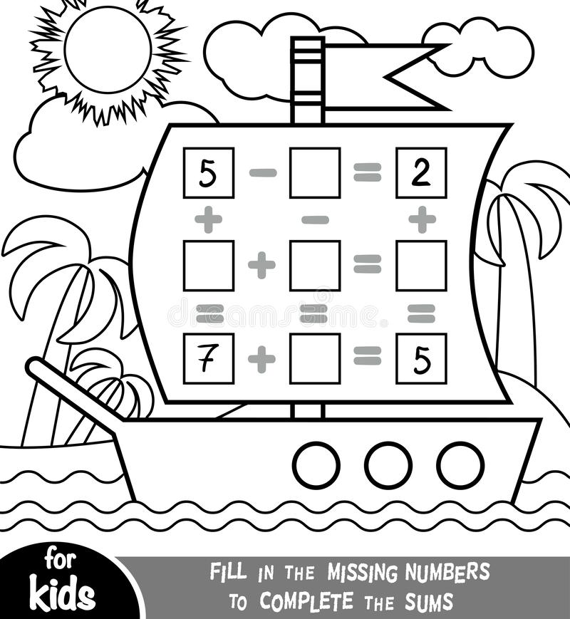 Free Counting Game For Preschool Children. Addition And Subtraction Worksheets In The Background Of The Ship. Educational A Stock Photo - 162807650