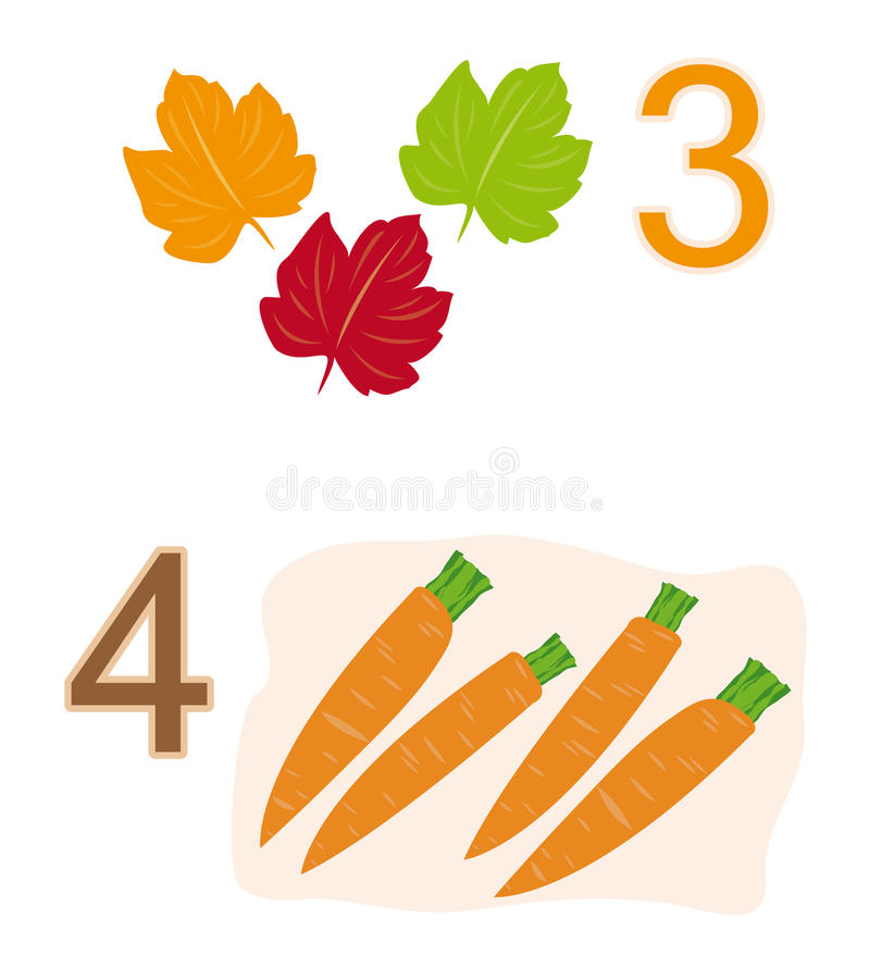 Counting game: number 3 & 4 stock illustration