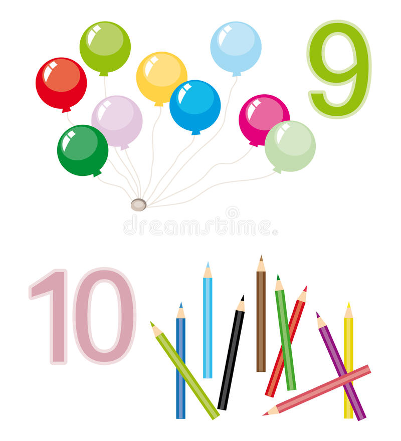Counting game: number 9 & 10 vector illustration