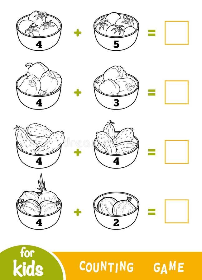 Counting Game for Preschool Children. Addition black and white worksheets. Vegetable bowls. Counting Game for Preschool Children. Educational a mathematical game vector illustration