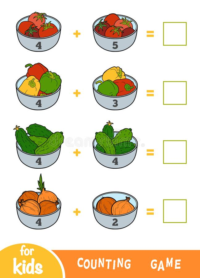 Counting Game for Preschool Children. Addition worksheets. Vegetable bowls. Counting Game for Preschool Children. Educational a mathematical game. Addition royalty free illustration