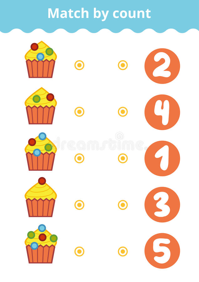 Counting Game for Preschool Children. Count the berries. Counting Game for Preschool Children. Educational a mathematical game. Count the berries on the cakes vector illustration