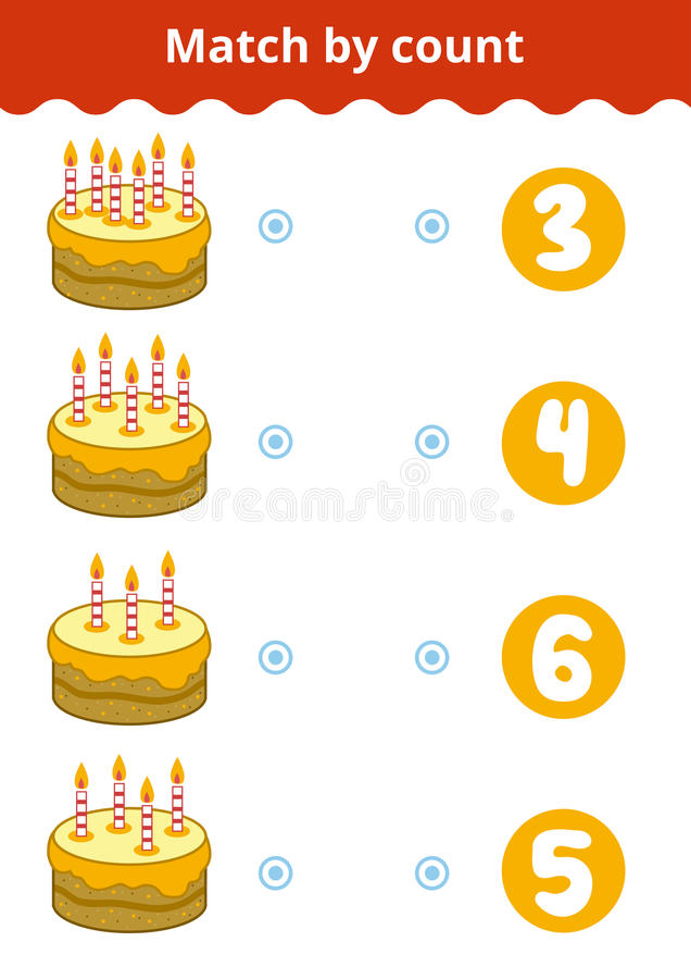 Counting Game for Preschool Children. Count the candles. Counting Game for Preschool Children. Educational a mathematical game. Count the candles and choose the vector illustration