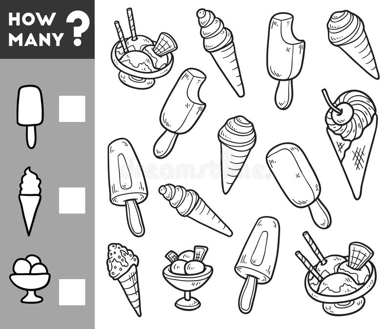 Counting Game for Preschool Children. Count how many ice cream. Counting Game for Preschool Children. Educational a mathematical game. Count how many ice cream stock illustration