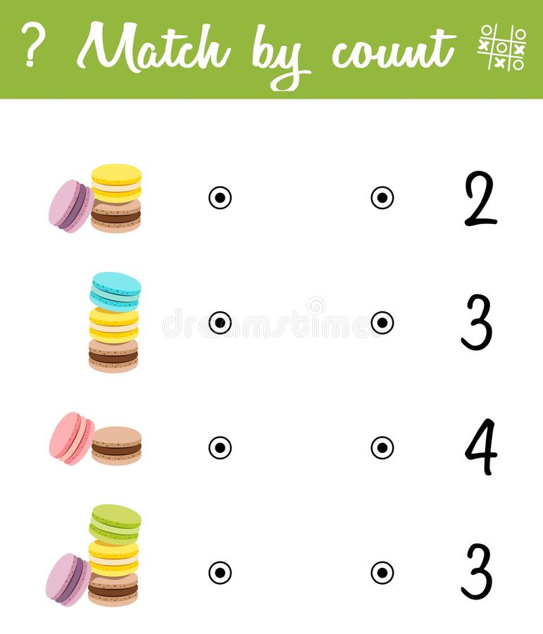 Counting Game for Preschool Children. Count the macaroons in the picture and choose the right answer. Mathematic game vector illustration