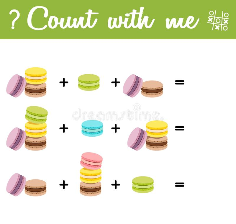 Counting Game for Preschool Children. Count the macaroons!. Counting Game for Preschool Children. Count the macaroons in the picture and choose the right answer stock illustration
