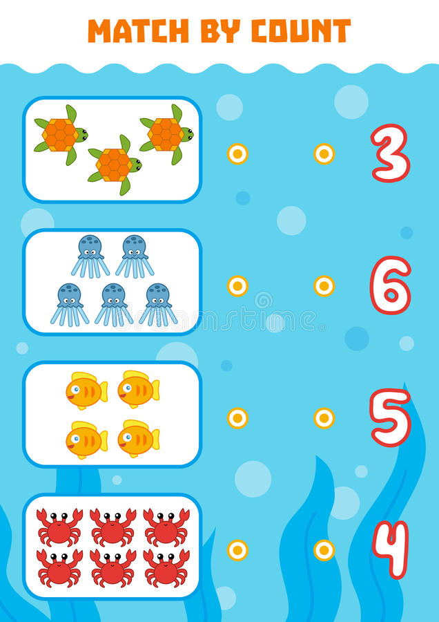 Counting Game for Preschool Children. Count sea animals. Counting Game for Preschool Children. Educational a mathematical game. Count animals in the picture and royalty free illustration