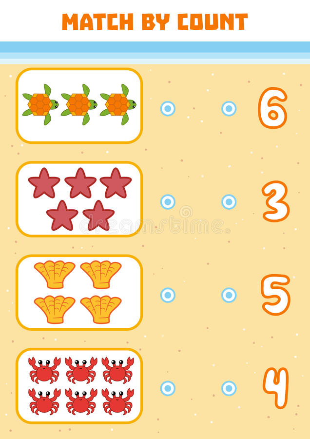 Counting Game for Preschool Children. Count sea animals. Counting Game for Preschool Children. Educational a mathematical game. Count sea animals in the picture royalty free illustration
