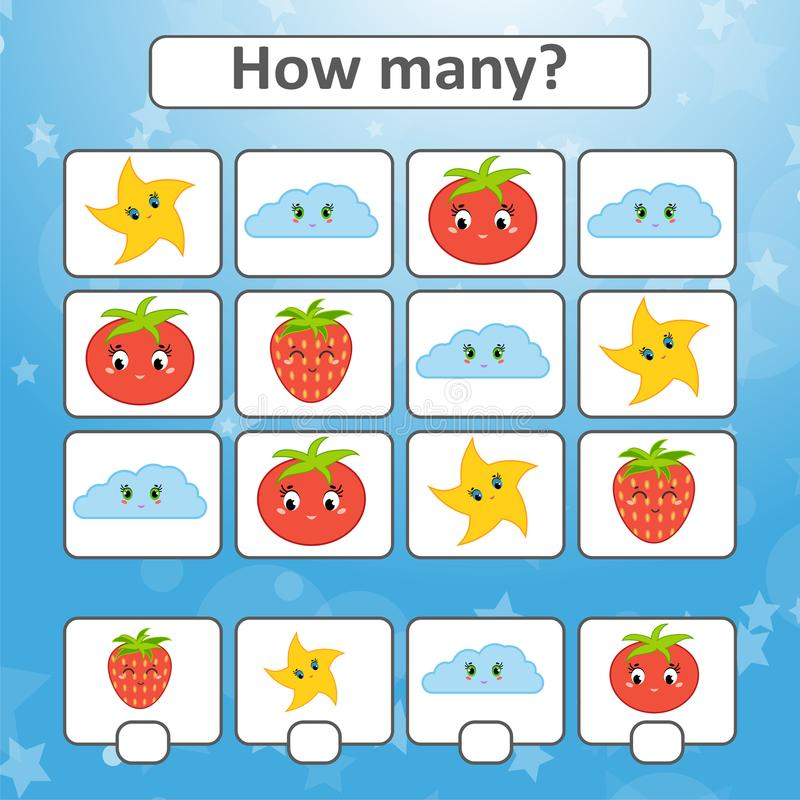 Counting game for preschool children for the development of mathematical abilities. Count the number of objects in the picture. Wi vector illustration
