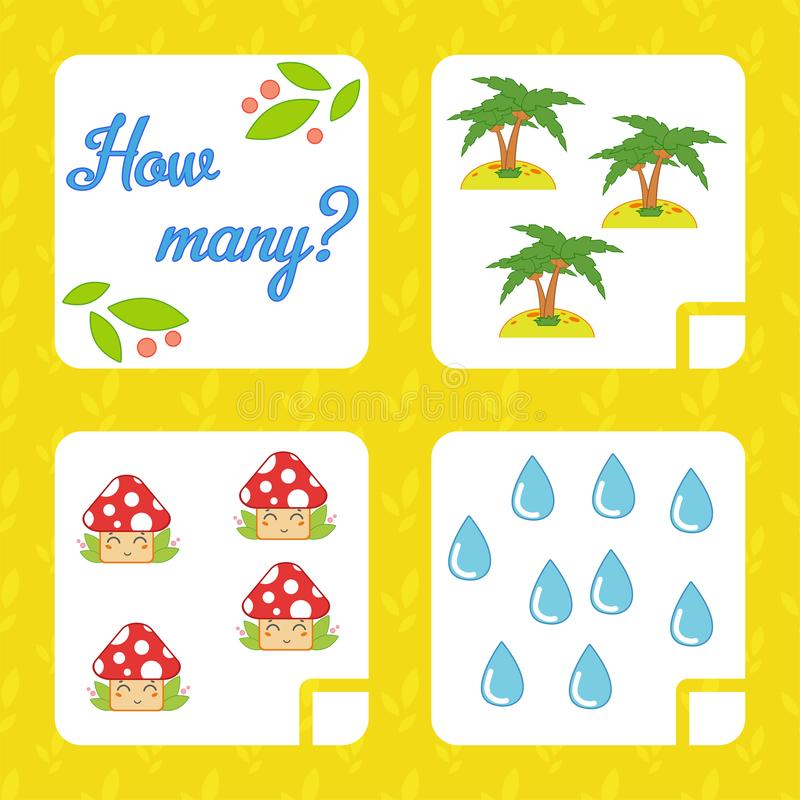 Counting game for preschool children for the development of mathematical abilities. Count the number of objects in the picture. Wi. Th a place for answers vector illustration