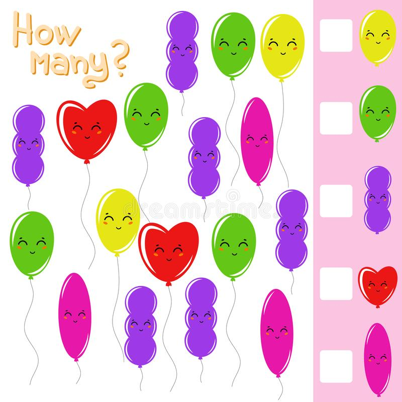 Counting game for preschool children for the development of mathematical abilities. How many balloons. With a place for answers. vector illustration