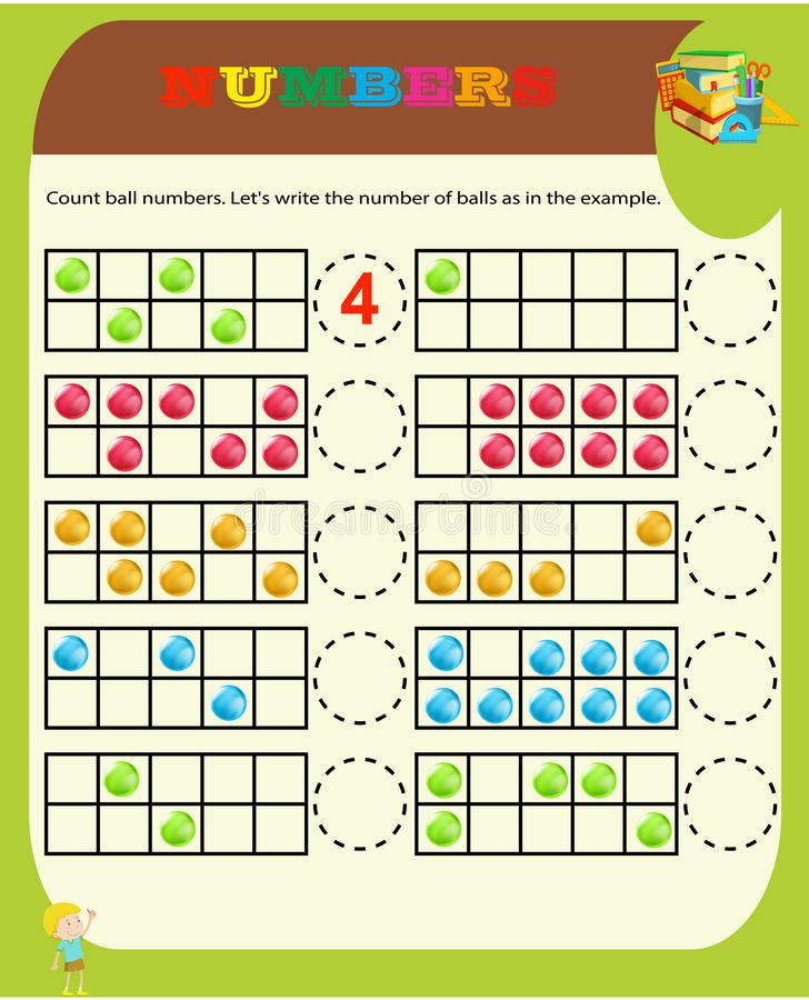Counting Game for Preschool Children. Educational a mathematical game. Count the items in the picture and choose the right answer. stock illustration