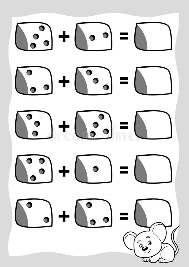 Counting Game for Preschool Children. Educational a mathematical game. Mouse and cheese. Count the numbers in the picture and write the result. Addition vector illustration