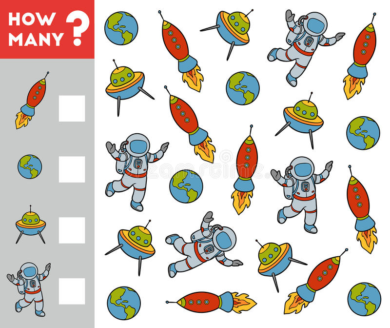 Counting Game for Preschool Children. Space objects royalty free illustration